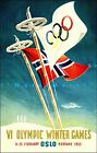 Oslo Norway 1952 Olympics Vintage Poster Print Winter Games Sports Travel Ski