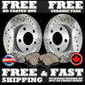 P0324 2 Rear Drilled Brake Rotors and 4 Ceramic Pads Mustang