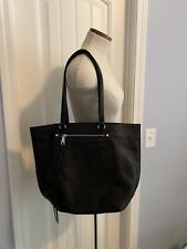 REBECCA MINKOFF Black Leather Large Handbag Tote Shoulder Bag Magnetic Closure