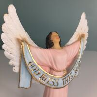 """God Bless This House Christian Angel Figurine 9"""" Easter Mothers Day Gift Home"""