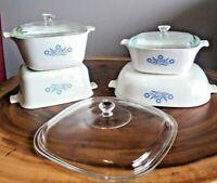 ORIGINAL CORNING WARE 1970s VINTAGE BLUE CORNFLOWER Casserole Dish SET EUC