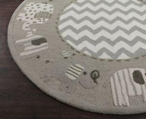 Elephant Zigzag 5' x 5' Round Handmade Kids Style Woolen Area Rugs & Carpets