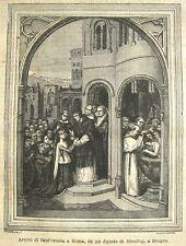 stampa antica ARRIVO DI SANT'ORSOLA A ROMA Orsola - HEMLING BRUGES BELGIO 1880