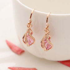 Womens Gold Plated Cubic Zirconia Pink Party Earrings Drop Jewellery Gift Bag