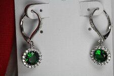 Emerald Halo Nickel Free Sterling Silver Dangle Leverback Earrings 1.91Ct /Pair