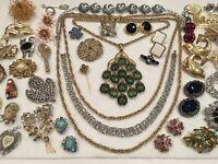 Vintage Necklace Pin Bracelet LOT Jewelry Monet Trifari Rhinestone Signed & Un