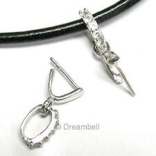 Rhodium Plated Sterling Silver Cz Pendant Bail Pin Pinch Dangle Clasp