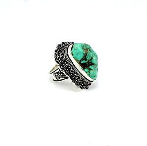 Natural Tibetan Turquoise Gemstone Antique Gift Engagement Ring Gemstone Handmade Ethnic 925 Sterling Silver Ring Size Adjustable