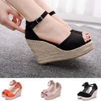 Women's Summer Bohemian Peep Toe Hemp Rope Platform Wedges Sandal Shoes Size