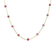 14K Oro Amarillo Collar con Redonda Rojo Rubí Circonita Cúbica 45.7cm