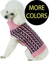 Harmonious Dual Color Cable Knitted Fashion Designer Pet Dog Sweater Clothes