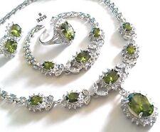 SET Green peridot +cz WHITE GOLD GF matching necklace bracelet ring earring Plum