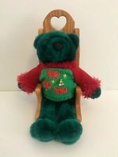 Green Teddy Bear Plush w/ Christmas Ho Ho Ho Sweater & Wooden Rocking Chair