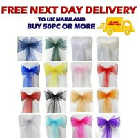 1 100 ORGANZA SASHES Chair Cover Decor Fuller Bow Anniversary Wider Party UK VAT