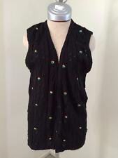 Talbots NEW sweater vest size S small black w floral embroidery NWT cotton