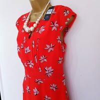 M&CO Womens Red Dress size 12 floral Print Chiffon Belt Keyhole evening formal