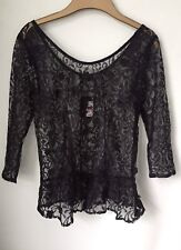 Ladies Atmosphere lacy black top size 8 with fabric flowers 3/4 sleeves side zip