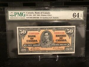 1937 Bank of Canada $50 Banknote PMG 64 CHOICE UNC