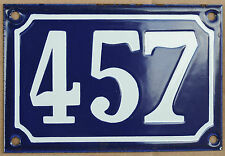 Blu Francese numero di casa 457 cancello piatto placca smaltata acciaio