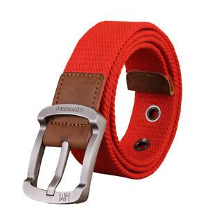 Mens Unisex Stretchy Braided Elastic Woven Webbing Buckle Waist Belts Waistband
