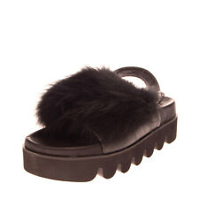 RRP€125 MOVIE'S Fox Fur & Leather Slingback Sandals EU 36 UK 3 US 6 Flatform
