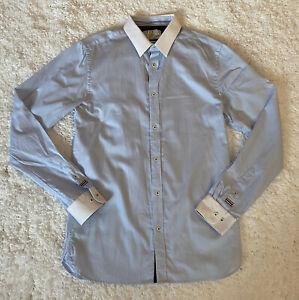Jack & Jones Men's Casual Shirt Long Sleeve Blue White Collar Medium Cotton