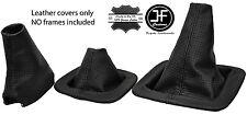 Puntada de 3X Negro Cuero Perforado Polainas Set Para Landrover Discovery MK1 MK2