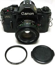 """Canon A-1 A1 Black 35mm Film SLR """"New"""" FD 50mm f/1.8 Lens with Filter & Cap Exc"""