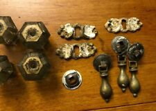 Lot of 9 cabinet/drawer pull knobs Key Holes Glass And Brass