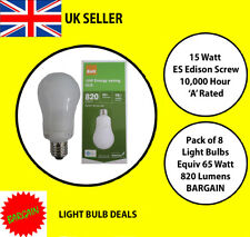 PACK OF 8 X 15 WATT ES LOW ENERGY LIGHT BULB A RATED 10000 HOUR A RATED NEW