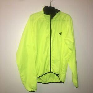 XL men's Pearl Izumi neon yellow cycle jacket windbreaker full zip 21-1702