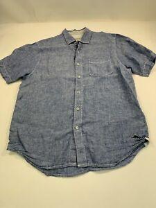Tommy Bahama Shirt Button Up Men Blue Sz. Medium Short Sleeve