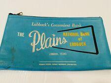 Vintage Vinyl Bank Bag Aqua Blue Lubbock Texas The Plains National Bank Zips Up