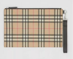 Burberry Check Canvas Zip Pouch/clutch