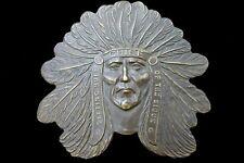 M B & co England Sitting Bull Souix Chief Belt Buckle Buffalo Bill Rare Vintage