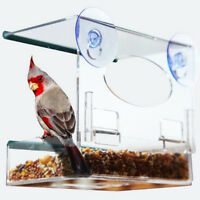 Acrylic Bird Feeder Tray Birdhouse Window Suction Hanging Clear Viewing #3