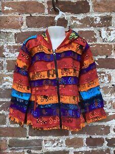 Childrens Rainbow Patchwork hoodie/jacket hippie/boho/festival age 6-7 Years