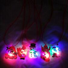 Christmas Jewelry LED Flashing Light Xmas Santa Claus Pendant Chain Necklace NEW