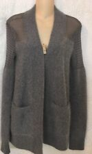 All Saints Cardigan Sweater Gray Angora With Mesh Size 6