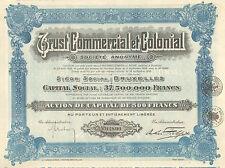 Trust Commercial et Colonial SA, accion de capital, 1928 (Siege: Bruxelles)