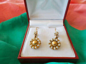 ANTIQUE 22K GOLD AND SEED PEARL DROP EARRINGS