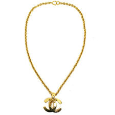 Authentic CHANEL Vintage CC Logos Gold Chain Pendant Necklace Accessories T03868