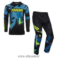 2021 Thor MX Sector Warship Blau Acid Cross Jersey Hose Combo Motocross Enduro