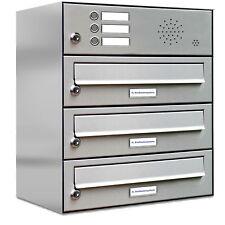 3er Premium Edelstahl Briefkasten Anlage mit Klingel 3 Fach Postkasten Wand