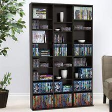 Adjustable Media Unit Cabinet Rack Video 756 Cd 360 Dvd 414 Game/BluRay Storage