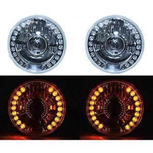"7"" Projector Halogen Amber LED Halo Turn Signal Headlight Crystal H4 Light Bulbs"
