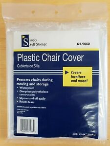 "2-Pack Chair Covers Durable Plastic Slipcovers For Chairs Up To 46"" x 76"""