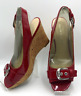 Franco Sarto Women's Red Patent Cork Wedge Peep Toe Heels Strap Size 7.5