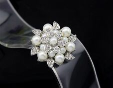 Beautiful Alloy Small Pearl and Silver Rhinestone Leaf Flower Jewelry Brooch Pin