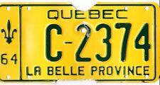 🌟🌟 🌟🌟 AUTHENTIC CANADA 1964 QUEBEC LICENSE PLATE.  C-2374